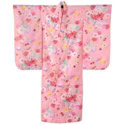 (加藤)KATO 424-6005 女の子七才着物 ポリエステル 小紋 ピンク地 桜といちご