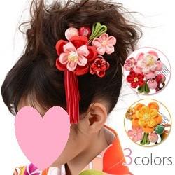 (加藤)KATO 480-5424 髪飾り 縮緬コーム 梅 房付 2点セット
