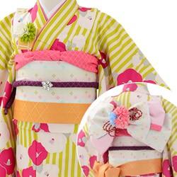 (加藤)KATO 426-8003 女の子着物帯セット ポリエステル 小紋 オフ白/黄緑縞 椿づくし 7才