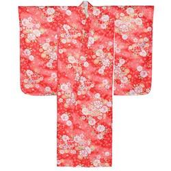 (加藤)KATO 424-8005 女の子七才着物 ポリエステル 小紋 赤地 鞠に桜