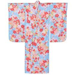 (加藤)KATO 424-8006 女の子七才着物 ポリエステル 小紋 水色地 芍薬と菊