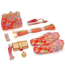 (加藤)KATO 440-6547 女の子箱迫セット 朱赤 桜と鞠 草履21cm(7才向)