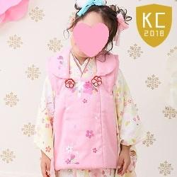 (加藤)KATO 428-8000 女の子被布セット ポリエステル 鞠/桜と星 薄黄色・ピンク 3才