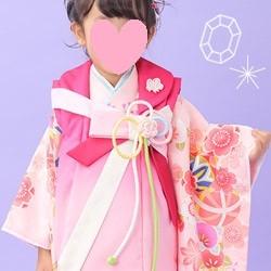 (加藤)KATO 428-7002 女の子被布セット ポリエステル ピンク/ピンクぼかし リボン 3才