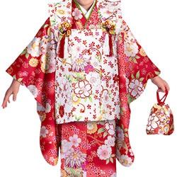 (加藤)KATO 428-8131 女の子被布セット ポリエステル 赤/白 鞠に桜 3才