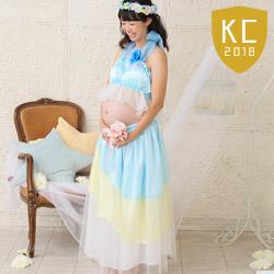 (加藤)KATO 640-8001  マタニティドレス2点セット 水色/黄 グラデーション コサージュ付