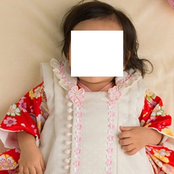 (加藤)KATO 457-6020 ●女児被布セット 赤 花と鞠/クリーム 小花 100日 中国製 SO