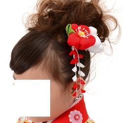(加藤)KATO 480-3021 髪飾り かんざし ふわふわ小梅 赤/白 12-A