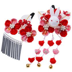 (加藤)KATO 480-6010 髪飾り 花うさぎ 赤 16-37-1 TO