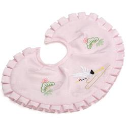 (加藤)KATO 519-0003  よだれかけ ポリ ピンク 刺繍 鶴 ワイヤー型