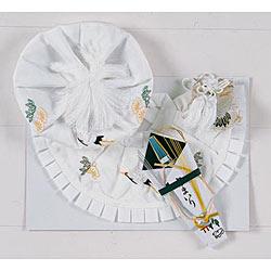 (加藤)KATO 519-0011  ベビー帽セット 正絹 白 大黒 福