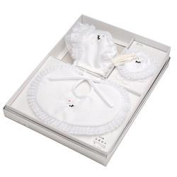 (加藤)KATO 519-0031  ベビー帽セット ポリ 白 洋フード型