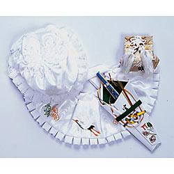 (加藤)KATO 519-0051  ベビー帽セット 正絹 白 フード 福