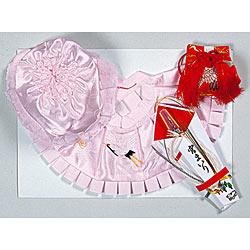 (加藤)KATO 519-0052  ベビー帽セット 正絹 ピンク フード 福