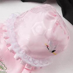 (加藤)KATO 519-0081  ベビー帽子 ピンク 鶴刺繍 ワイヤー型 中国製