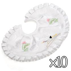 (加藤)KATO 519-4002  よだれかけ ポリ 白 刺繍 鶴 ワイヤー型 10枚 中国製