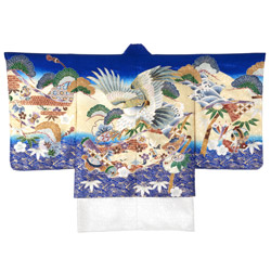 (加藤)KATO 522-6605  男児着物羽織 ブルー地 鷹に巻物 サイズ各種