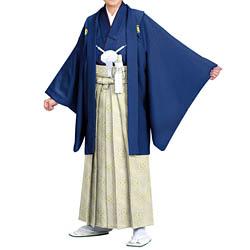(加藤)KATO 523-5023  ジュニア男紋付 綸子 紺 13才 襦袢なし 着物丈短め