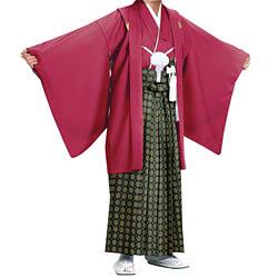 (加藤)KATO 523-5063  ジュニア男紋付 エンジ綸子 13才 襦袢なし 着物丈短め