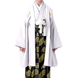 (加藤)KATO 523-5113  ジュニア男紋付 ポリ 白 菊菱 13才