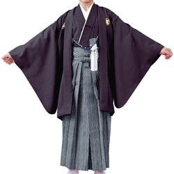 (加藤)KATO 523-5603  ジュニア男紋付 綸子 濃紫 13才 襦袢なし 着物丈短め