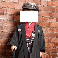 (加藤)KATO 527-2063  男児羽織袴セット ポリ 黒・赤 一体型 3才
