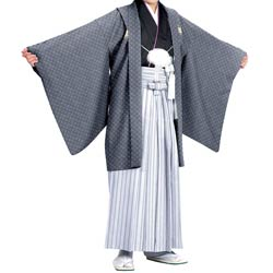 (加藤)KATO  ジュニア男羽織袴セット ポリ 濃グレー/七宝・黒  白銀 黒縞 着物丈短め 各種サイズ