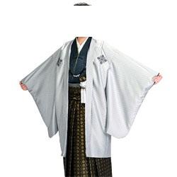 (加藤)KATO  ジュニア男羽織袴セット ポリ 薄グレー/小花武田菱・濃グレー  着物丈短め 各種サイズ