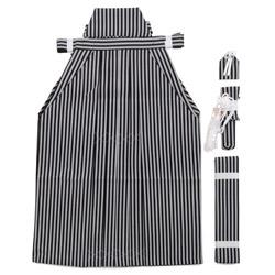 (加藤)KATO  ジュニア男袴セット 白黒縞  中国製 サイズ各種