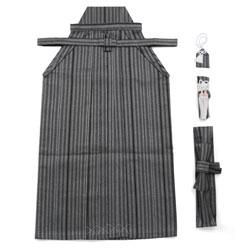 (加藤)KATO  ジュニア男簡易袴セット 黒グレー銀 縄縞 サイズ各種