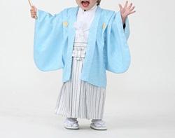 (加藤)KATO 男児羽織袴セット 水色・白 一体型 1才