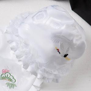 (加藤)KATO 519-0080  ベビー帽子 白 鶴刺繍 ワイヤー型 中国製