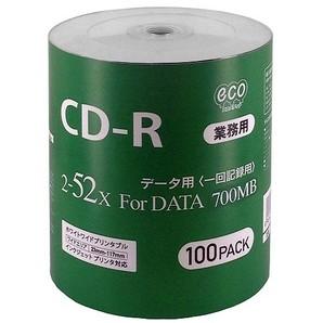 (ハイディスク)HIDISC  CD-R for DATA 700MB  100枚 シュリンクecoパック 2-52倍速対応