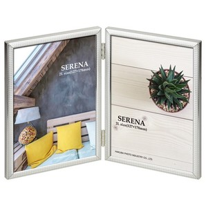 (ハクバ) HAKUBA メタルフォトフレーム SERENA(セレーナ)03 2Lサイズ 2面(タテ・タテ) シルバー
